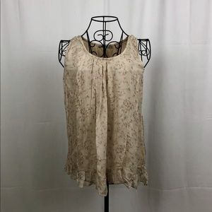 TENDENZE  silk fully lined floral tank M